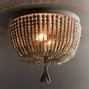 Image 4 - wooden/beaded chandelier retro/vintage/industrial/french chandelier light fittings for living/dining room shopping mall kitchen