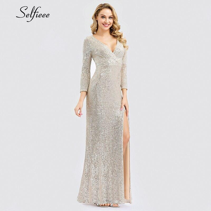 Luxe Maxi robe pailletée col en v à manches longues côté fendu mode Maxi robe Sexy boîte De nuit robe De soirée Vestidos De Festa 2019