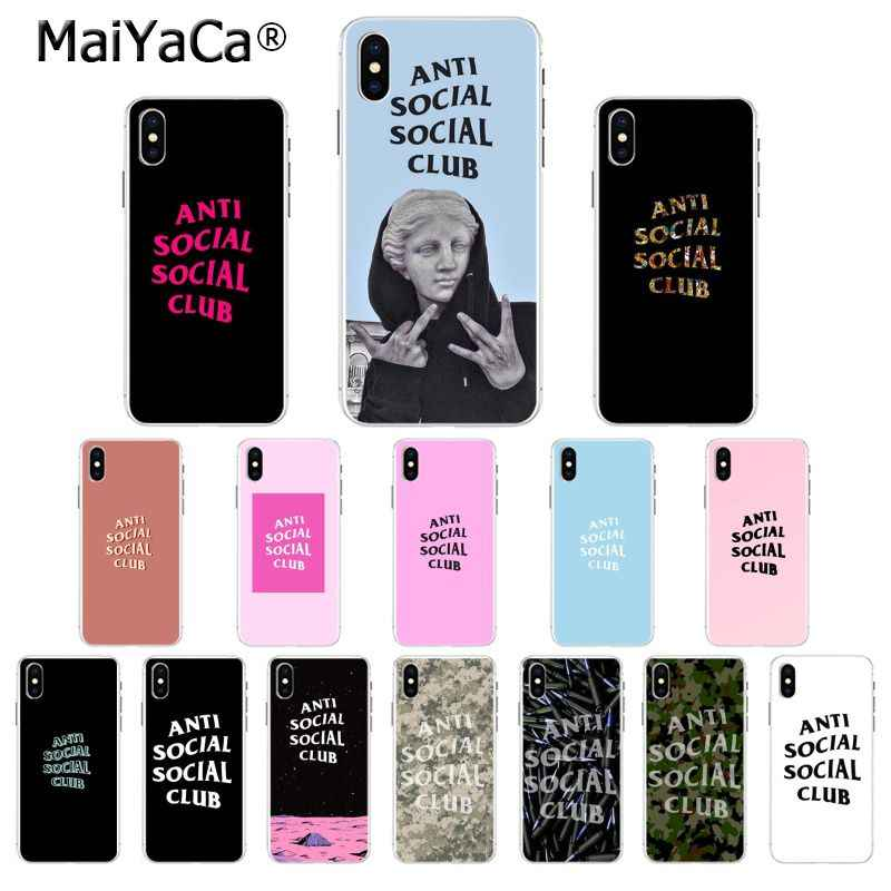 Maiyaca Anti Social Social Club TPU Lembut Silicone Ponsel Case untuk iPhone 8 7 6 6S PLUS 5 5S SE XR X XS Max Coque Shell