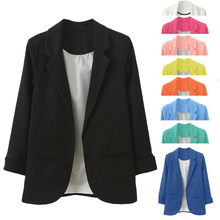 Women OL Style Nine Quarter Cuffed Sleeve elegant Slim Suit Coat(China)