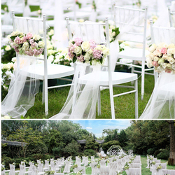 45cm width 5 meter sheer crystal organza tulle roll fabric for wedding Marrange Baby show party decoration organza chair sashes