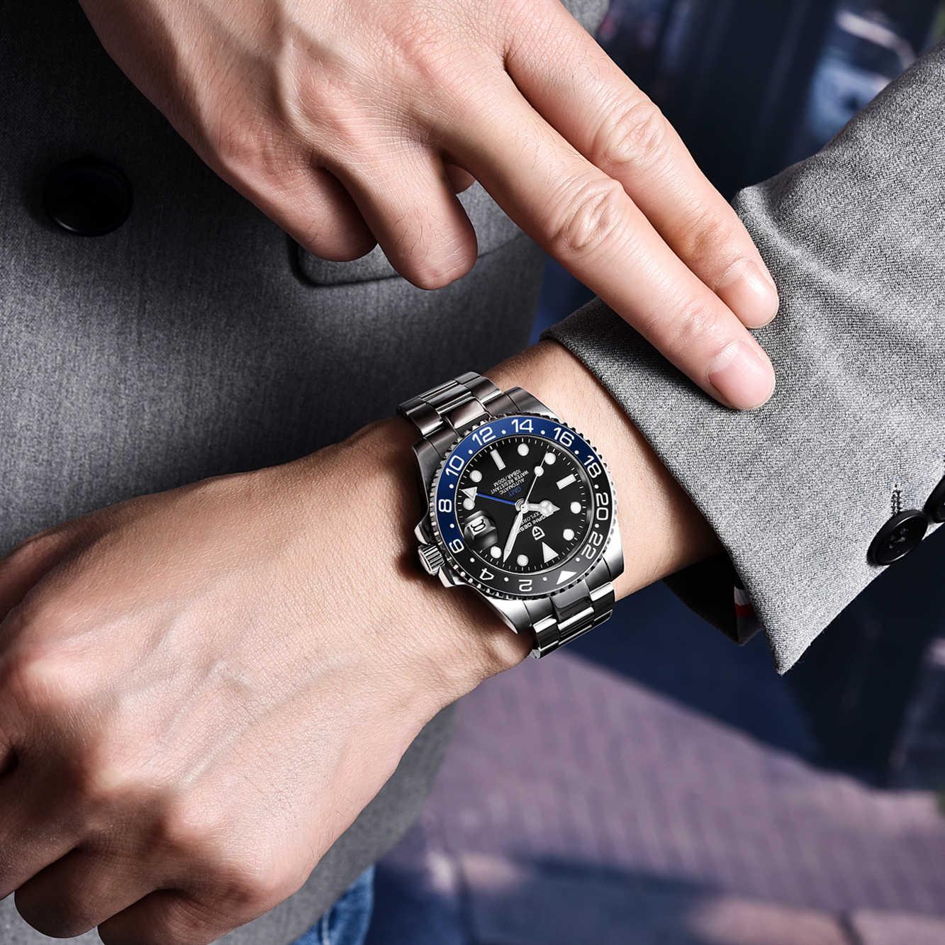 PAGANI DESIGN 40mm automatyczne mechaniczne zegarki męskie GMT Sapphire 100M wodoodporny mężczyzna zegarek relogio masculino mężczyźni zegar