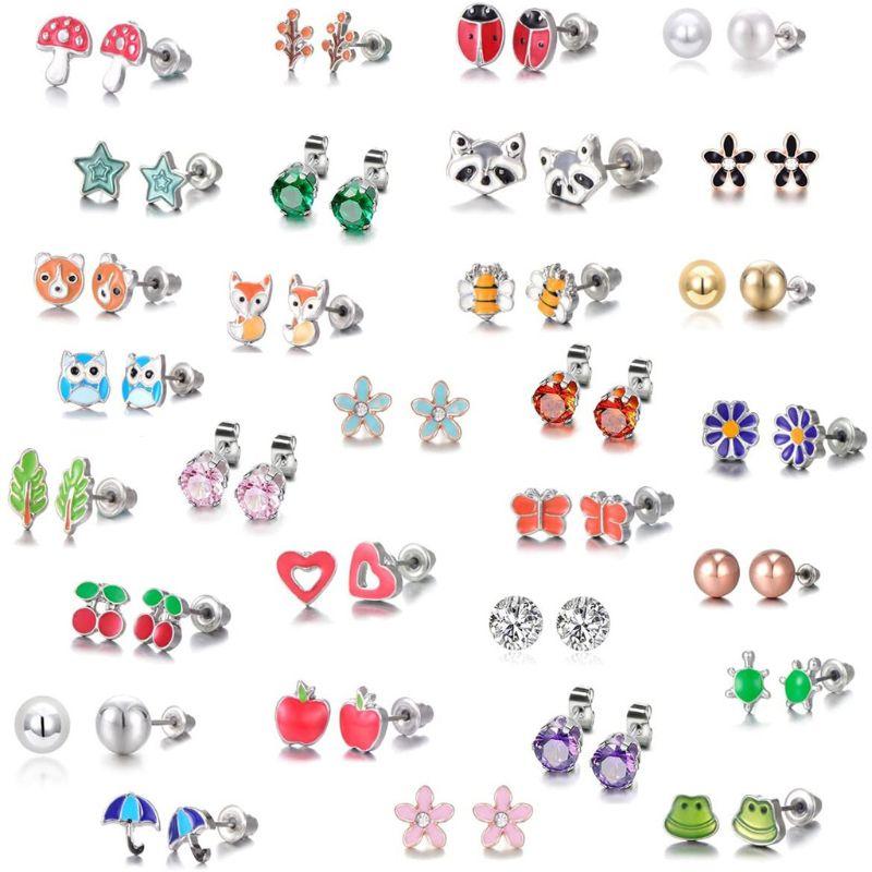 30 Pairs Stainless Steel Mixed Animals Heart Star Ladybug Bee Frog Mushroom Tree Daisy Umbrella Stud Earrings Set Kids