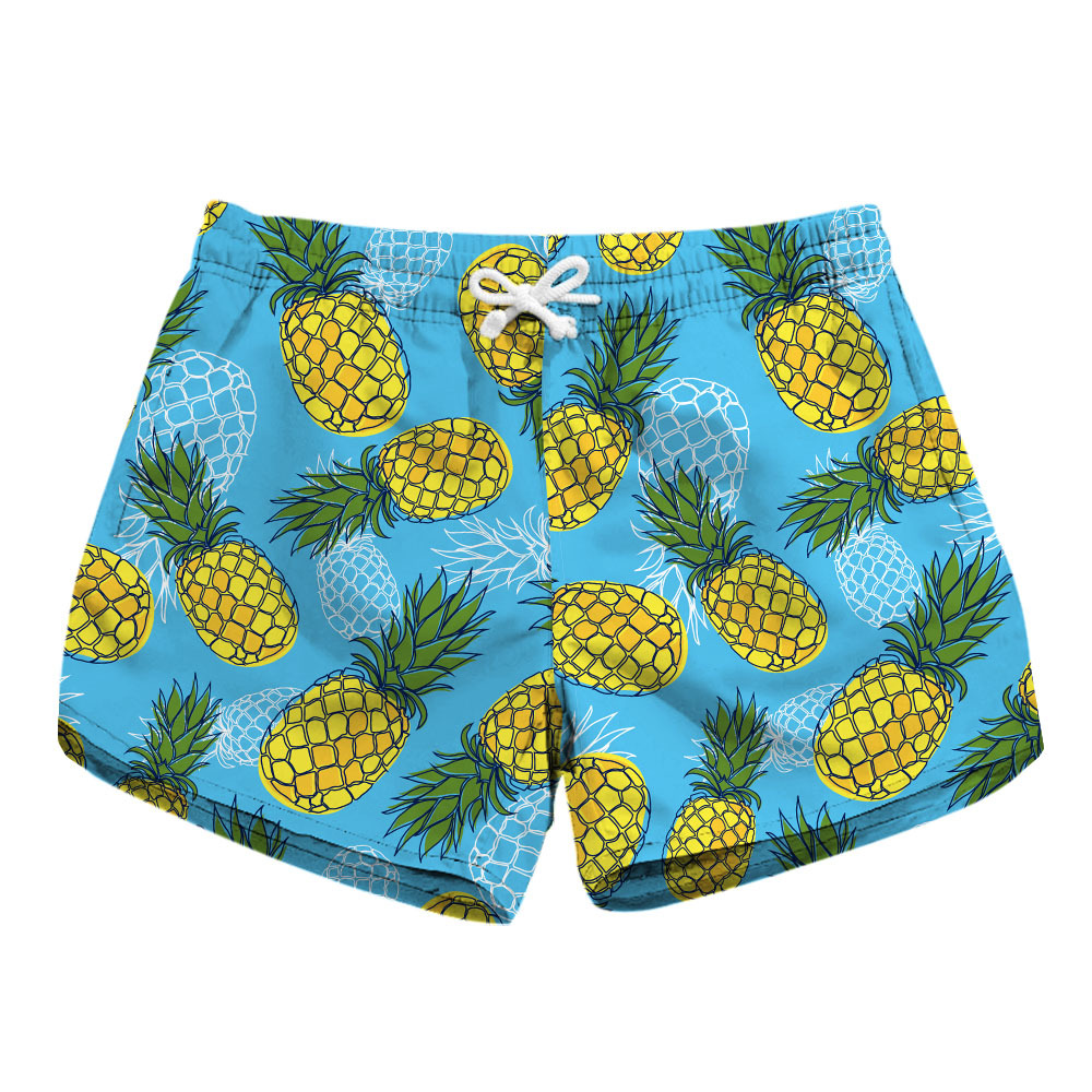Digital Printing Ladies Quick-drying Shorts Fashion Pineapple Printed Side Pocket Casual Shorts