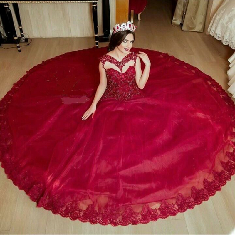 2016 Vestido De Noiva Red Bridal Ball Gown Sexy V Neck Illusion Lace Appliques Beaded Sequined Mother Of The Bride Dresses