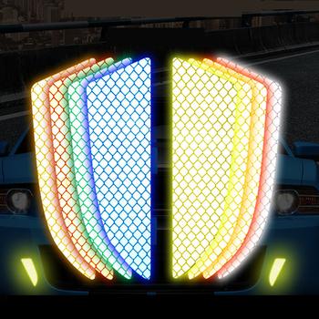 2 sztuk zestaw samochodów reflektor naklejka ochronna zadrapania ostrzeżenie o bezpieczeństwie odblaskowe naklejki samochodowe Acessorio Para Carro taśma odblaskowa tanie i dobre opinie CARSUN Paski odblaskowe
