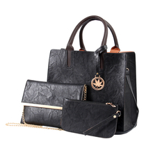 2018 New Women Bags Set 3 Pcs Leather Handbag Women Large Tote Bags Ladies Shoulder Bag Handbag+Messenger Bag+Purse Sac a Main levsifun sj 0081 women s fashion 3 in 1 messenger bag tote bag handbag set apricot