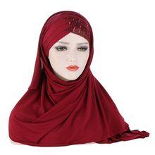 2020 Новый Блестящий мусульманский хиджаб с перекрестными блестками на лоб шарф готов к ношению тюрбан хиджабы исламский женский головной пл...