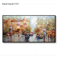 Pure Hand painted Beautiful Russian Street Landscape Oil Painting on Canvas Luxury Wall Art Picture Russia Street Oil Painting