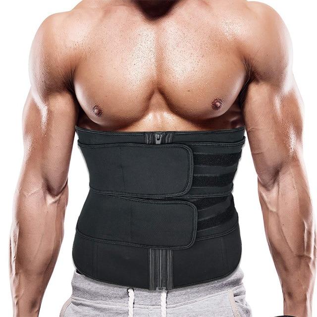 Men Upgraded Version Sweat Belt Waist Trainer Cincher Trimmer Neoprene Hourglass Slimming Body Shaper Band Workout Back Support 2