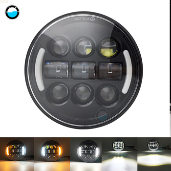 """5 3/4"""" Motorcycle Refit Round LED Headlight for Dyna Sportster Victory Triumph Indian Motor HeadLamp Halo DRL Amber Turn Light"""