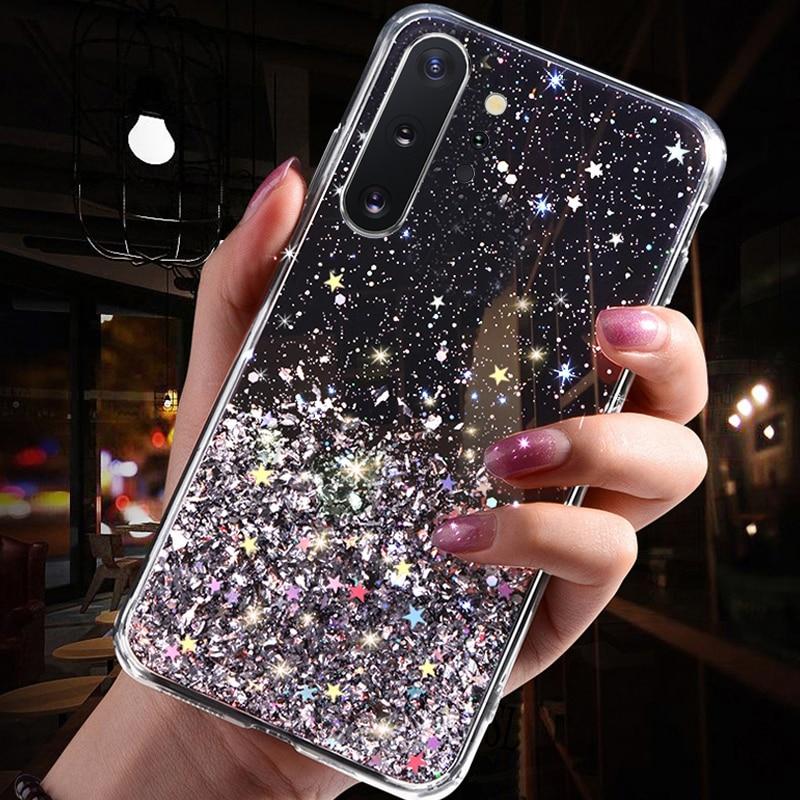 Luxury Glitter Star Case For Samsung Galaxy A70 A50 A10 A20 A30 A60 A80 A90 A20S A10S A20E Note 10 9 8 S10 S9 S8 Plus S10E Cover - Цвет: Black