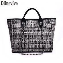 DIINOVIVO Luxury Designer Women Tote Handbags Wool Large Capacity Female HandBags High Quality Shoulder Bag 2019 WHDV1244
