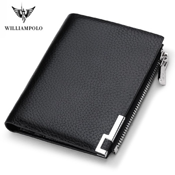 цена на WilliamPolo Men Wallet mens slim Credit Card Holder Bifold Genuine Leather mini Multi Card Case Slots Cowhide Leather Wallet