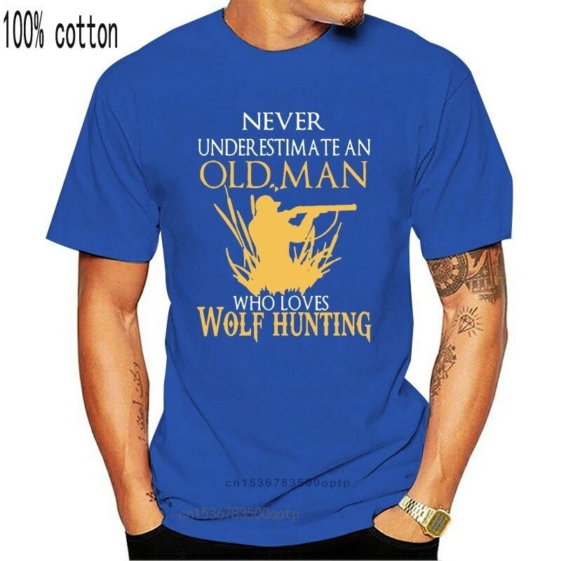 Klasyczna koszulka męska 2020 wilk huntingr stary człowiek, który kocha wilk polowanie t-shirty s-xxxl bawełna drukuj słodkie HipHop odzież