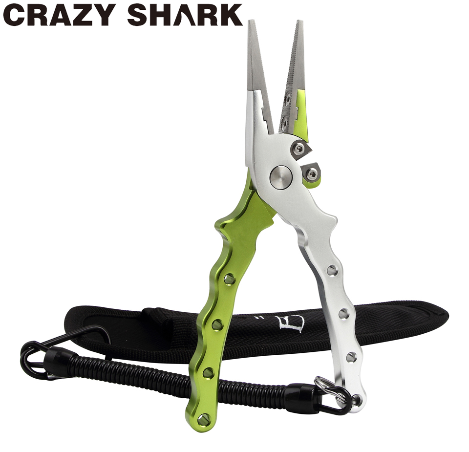 Crazy Shark Aluminium Fishing Pliers Hook Remover Line Cutting Tools Fish Scissors For Freshwater Saltwater With Lanyard+Sheath