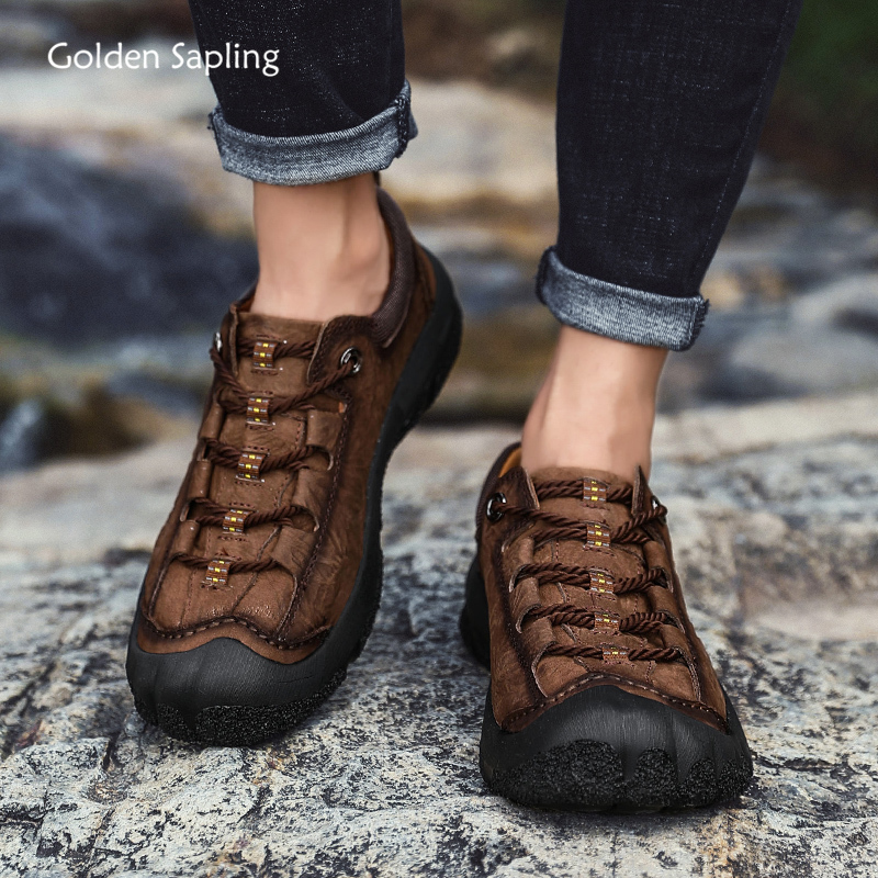 Golden Sapling Retro Style Men's Trekking Shoes Breathable Genuine Leather Outdoor Sneakers Men Tactical Hiking Mountain Boots