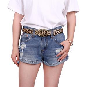 Image 5 - Earnda Womens Fashion Belt Leopard Belts Double Buckle PU Leather Strap For Dress High Waist