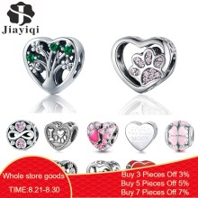 Jiayiqi 100% 925 Sterling Silver Heart Shaped Charms 925 Silver Beads Fit Charm Bracelet DIY Women Wedding Engagement Jewelry(China)