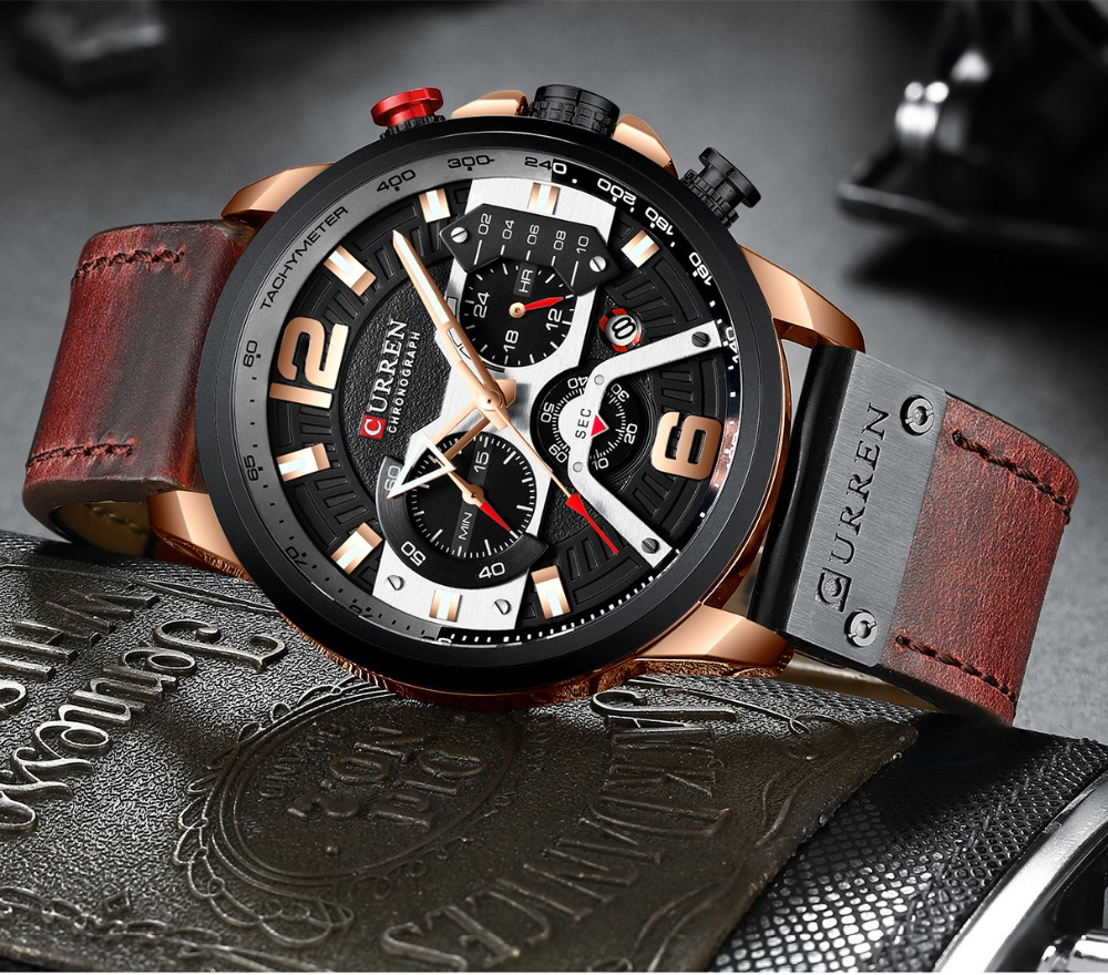 Hfe6a26527fec44fda85778e2111883e9L CURREN Casual Sport Watches for Men Blue Top Brand Luxury Military Leather Wrist Watch Man Clock Fashion Chronograph Wristwatch