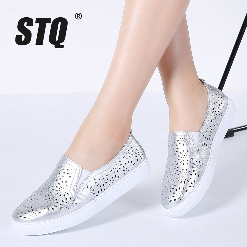 STQ 2020 Spring Women Flats Leather Loafers Ballet Flats White Sneakers Shoes Woman Slip On Black Tennis Shoes For Women 6689