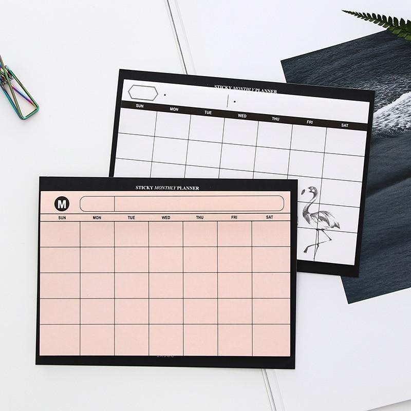 1 Pc Creative Agenda Simple Desktop Schedule Monthly Plan Tearable Notebook Work Efficiency Plan Stationery Office Supplies