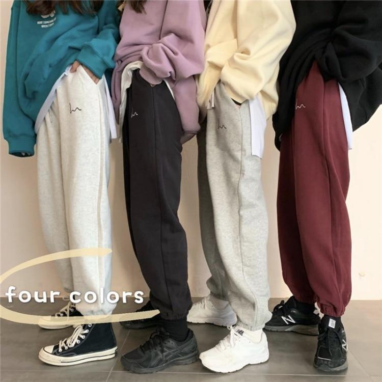 Casual Sweatpants Women Warm Trousers Winter Joggers Harajuku Embroidery High Waist Loose Long Trousers Female Sports Wide Pants