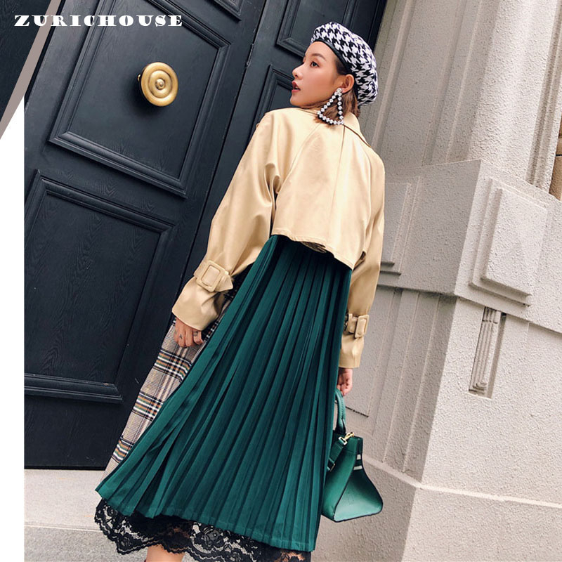 ZURICHOUSE Spring Long Coat Woman Fashion Hit Color Lapel Bandage Windbreaker 2020 Casual Temperament Loose Fit Trench Female