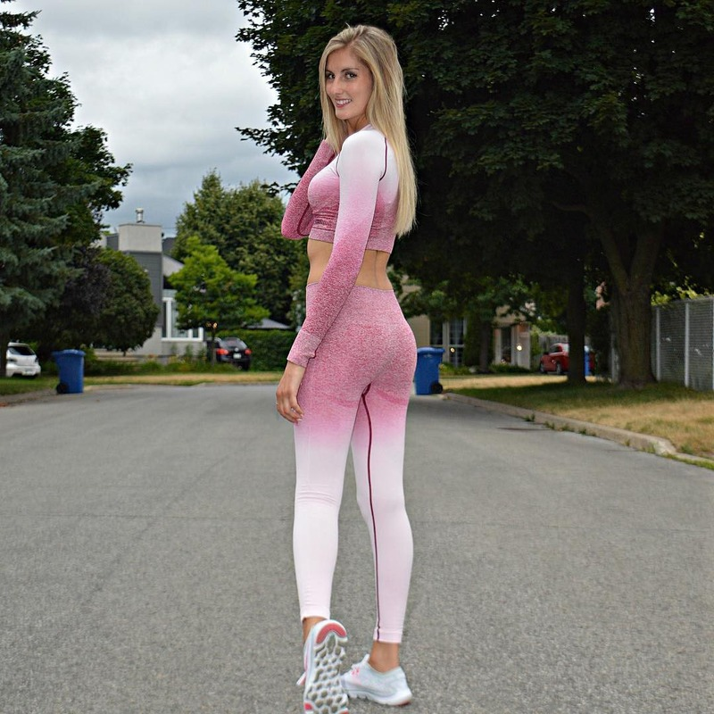 Seamless Set Women Yoga Clothing High Waist Hip Ombre Gradient Leggings Top Long Sleeve Workout Sport Outfit Fitness Active Wear