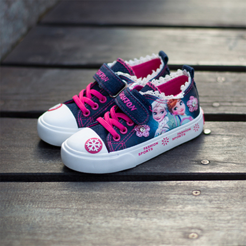 Cartoon Princess Children's Shoes  Lace Denim Canvas Shoes