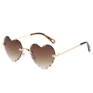 Image 1 - Женские солнцезащитные очки без оправы в форме сердца, модные брендовые дизайнерские очки в металлической оправе, градиент цвета конфеты, трендовые очки