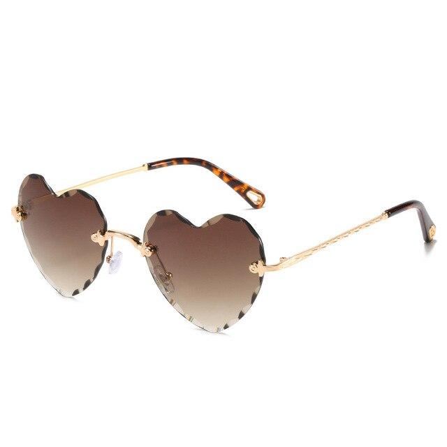 Fashion Heart Shape Sunglasses Rimless Flower Glasses Women Fashion Brand Design Metal Frame Candy Color Gradient Trend Glasses