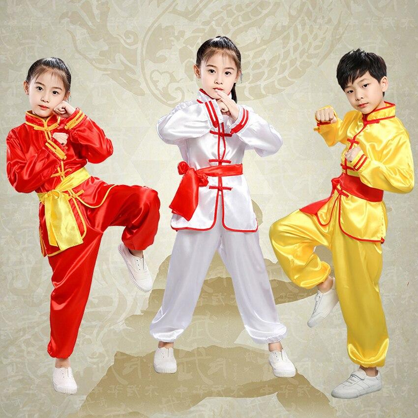 Kids Boys Girls Chinese Traditional Costumes Taekwondo Wushu Kungfu Clothing Set Satin Martial Arts Taichi Uniform Performance