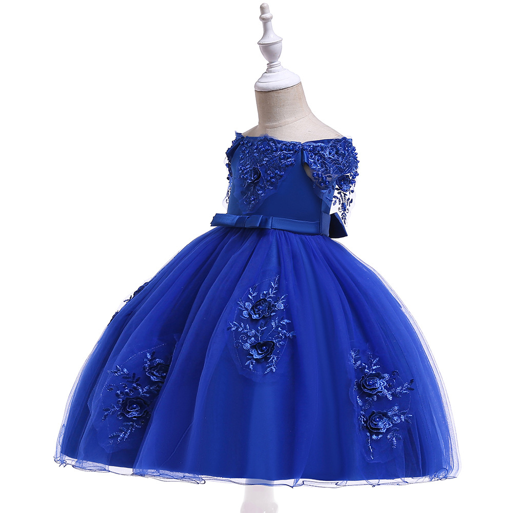 Girl'S Gown Gauze Beads Flower Off-Shoulder INS Princess Dress Formal Dress Children