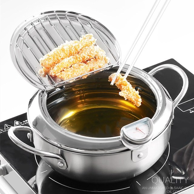 MOM'S HAND Kitchen Deep Frying Pot Thermometre Tempura Fryer Pan Temperature Control Fried Chicken Pot Cooking Tools 1