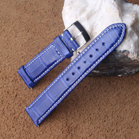 Watchband Blue Bright Alligator Leather +cowhide Leather Watch strap bands 20mm for Fashion Style Wristwatch Special Promotion