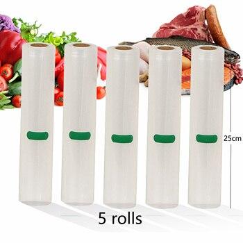 5 Rolls/Lot Haushalt Küche Lebensmittel Vakuum Beutel Für Vakuum Versiegelung Lagerung Taschen Für Lebensmittel Frisch Halten 25cm * 500cm