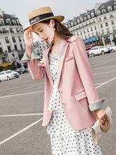 Large Size Korean Pink Ladies Blazer Loose Casual Simple Suit Jacket Bleizer Femenino Stylish Party Autumn Women Blazer MM60NXZ
