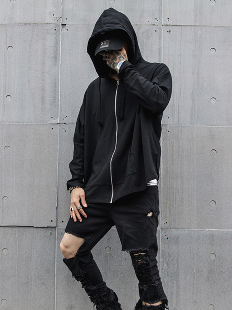 Men Plain Hooded Tops Long sleeve Loose Hip Hop Hoodies Pullover Streetwear New