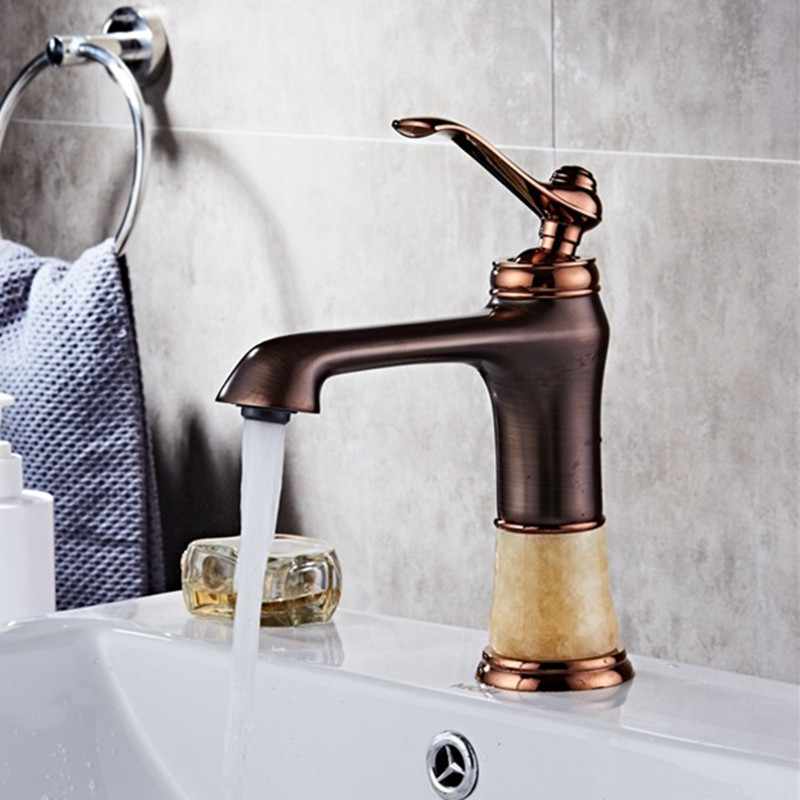 Bathroom Faucets Oil rubbed Bronze Color Faucet Brass jade Basin Mixer Tap with Hot and Cold Water Tap Sink Crane
