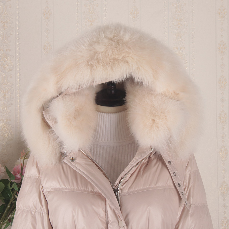 Winter Duck Down Jacket Women X-Long Down Coat Female Thick Slim Jackets Clothes Ladies Large Fur Hooded Warm Coats 8076