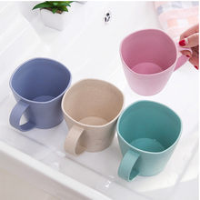 Coffee Mugs Tea Plastic Cup Healthy Wheat Straw Milk Cup Environmental Protection Thick Anti-hot Cups Toothbrush Cup Tableware(China)