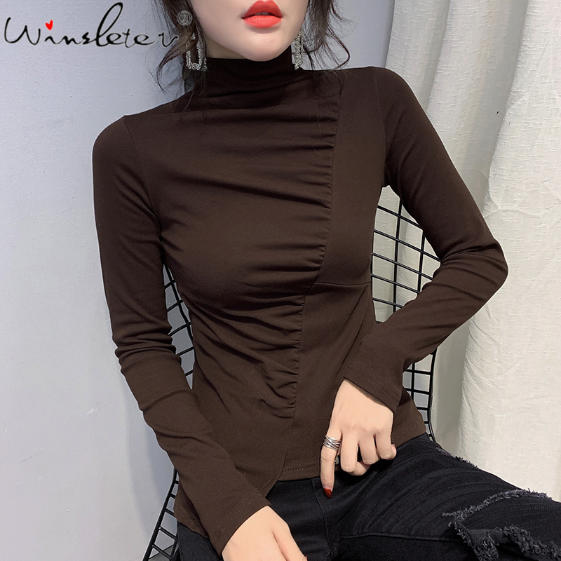 Spring Autumn Thick Tshirt Fleece Irregular Asymmetrical Patchwork Mock Neck Slim Long Sleeve Warm Tops Bottoming Plus Size