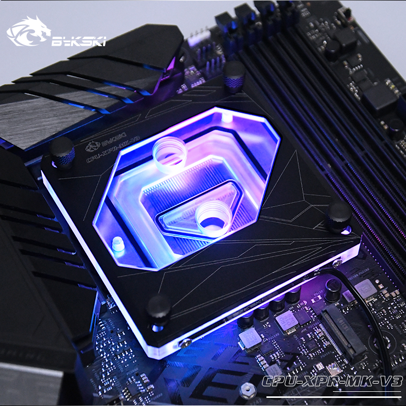 Bykski <font><b>CPU</b></font> Water Block use for <font><b>INTEL</b></font> LGA1150 <font><b>1151</b></font> 1155 1156 2011 2066 X99 I7 /12V RGB / 5V 3PIN A-RGB Light / Support AURA image
