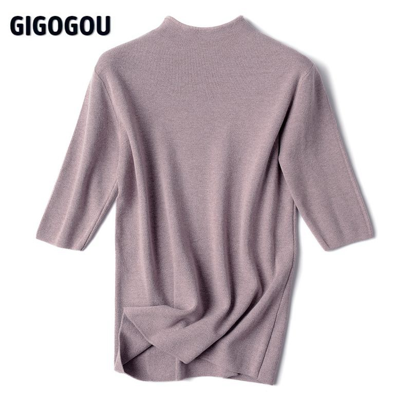 GIGOGOU Half Sleeve Women Turtleneck Sweater Autumn Spring Pullover Top Soft Female Jumper Black White Tight Sweaters Pull Femme