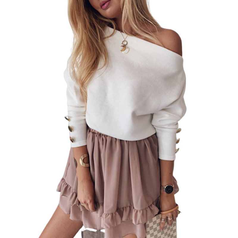 ELSVIOS Women Sexy Slash Neck Knitted Sweater Autumn Winter Off Shoulder Long Sleeve Button Pullover Femme Solid Streetwear Tops 4