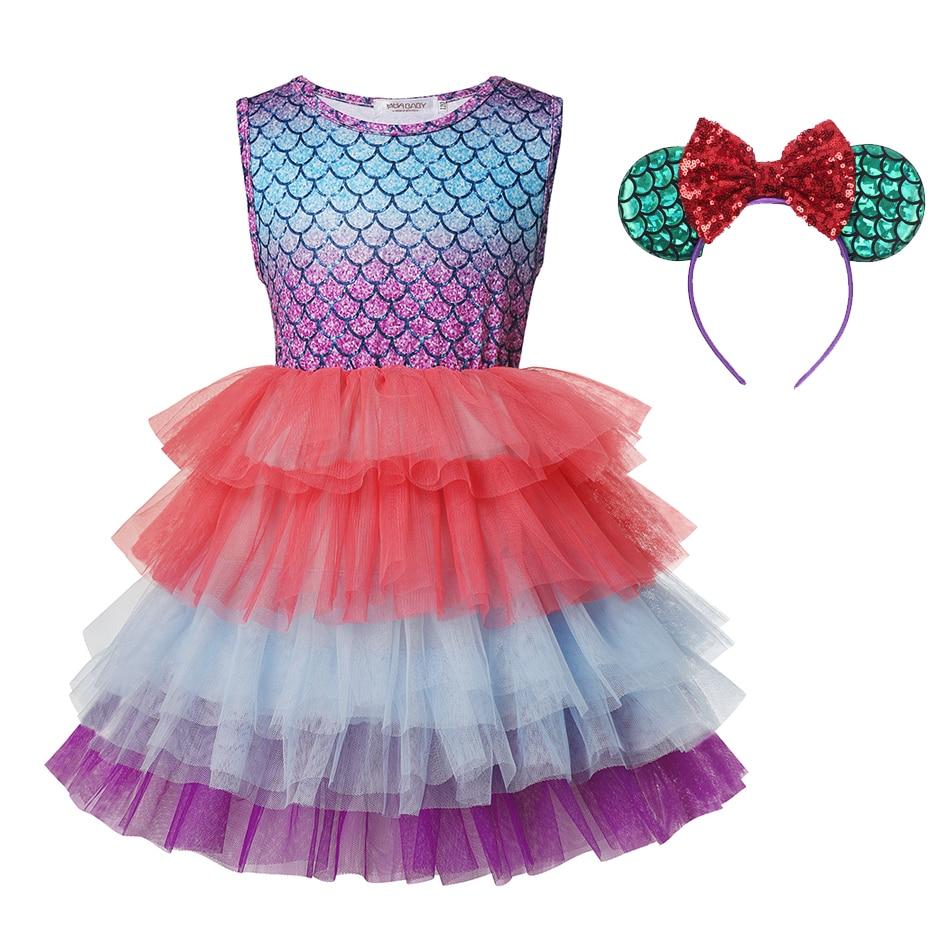 Vestido de sereia para meninas, princesa, vestido tutu, sem mangas, roupas casuais para escola, aniversário, para crianças