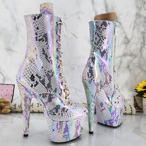Leecabe обувь для танцев на шесте, 17 см/7 дюймов, сапоги на платформе и высоком каблуке, танцевальные сапоги для шеста