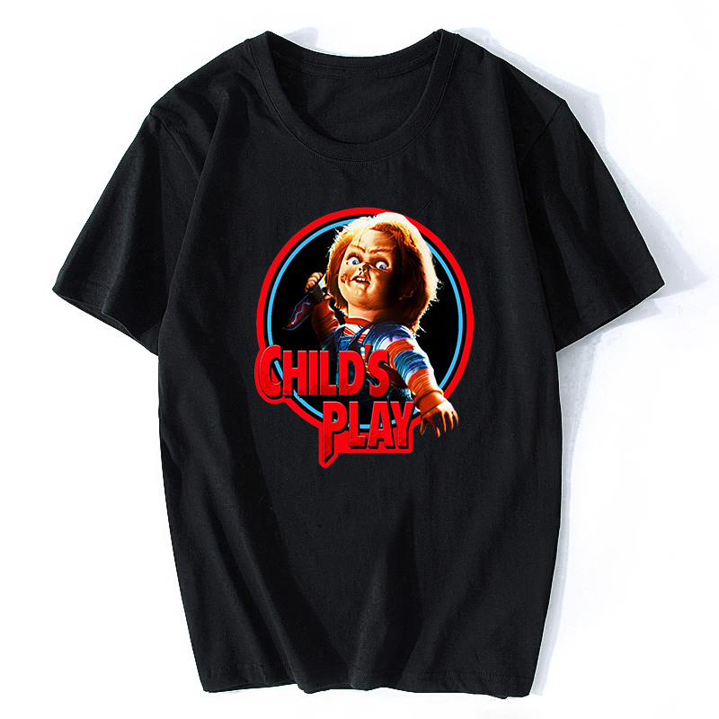 Chucky Horror T Shirt Men's High Quality Aesthetic Cotton Vintage Black T-shirt Harajuku Streetwear Camisetas Hombre