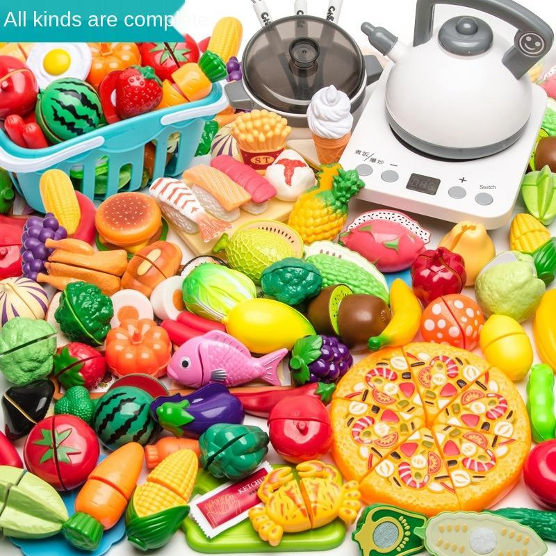 Children's Play House Toy Kitchen Girl Shopping Cart Vegetables Carefully Watch Baby Cut Fruit Boy Combination Educational Toys
